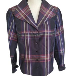 Randy Kemper Plaid Long Sleeved Collared Blouse